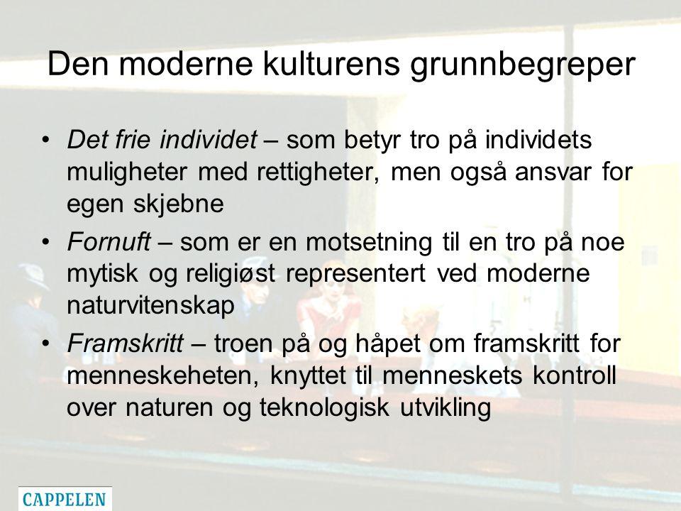 Den moderne kulturens grunnbegreper Det frie individet – som betyr tro på individets muligheter med rettigheter, men også ansvar for egen skjebne Forn