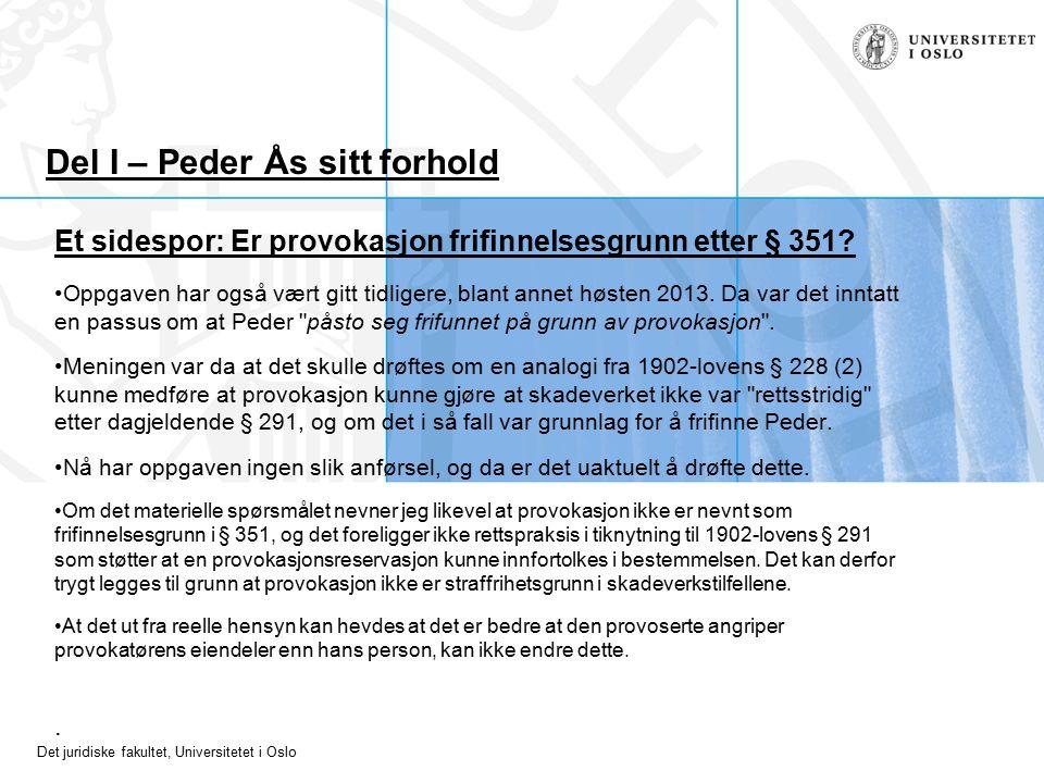 Det juridiske fakultet, Universitetet i Oslo Del I – Peder Ås sitt forhold Et sidespor: Er provokasjon frifinnelsesgrunn etter § 351? Oppgaven har ogs