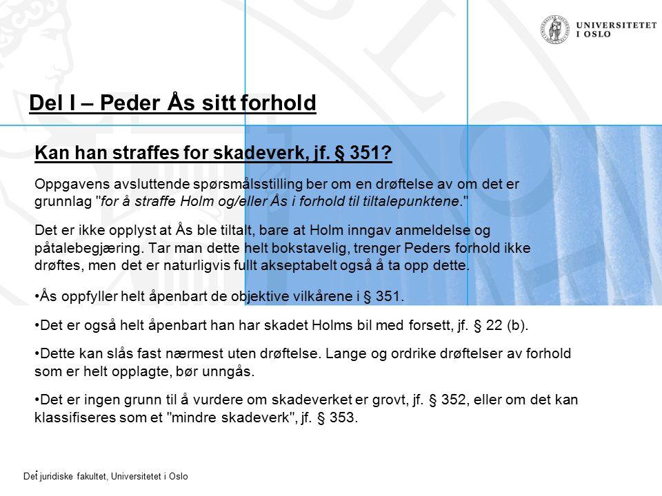 Det juridiske fakultet, Universitetet i Oslo Del I – Peder Ås sitt forhold Kan han straffes for skadeverk, jf. § 351? Oppgavens avsluttende spørsmålss