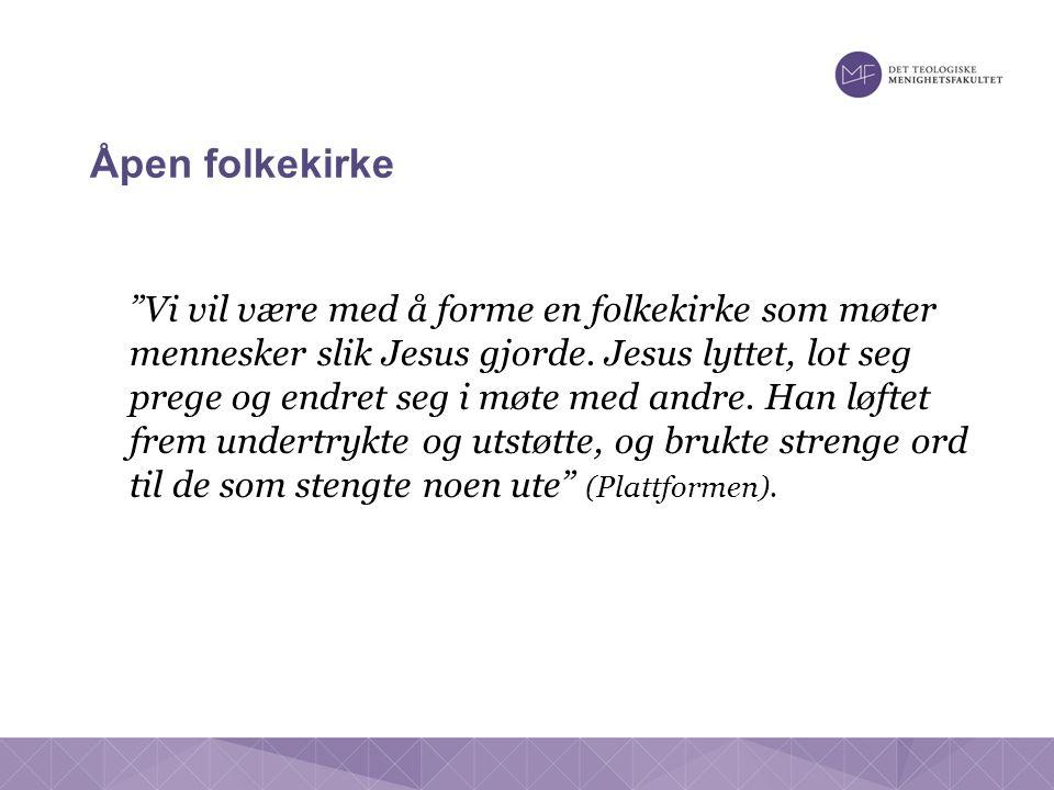 Åpen folkekirke Vi vil være med å forme en folkekirke som møter mennesker slik Jesus gjorde.