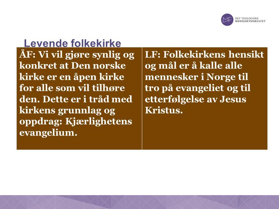Levende folkekirke ÅF: Vi vil gjøre synlig og konkret at Den norske kirke er en åpen kirke for alle som vil tilhøre den.