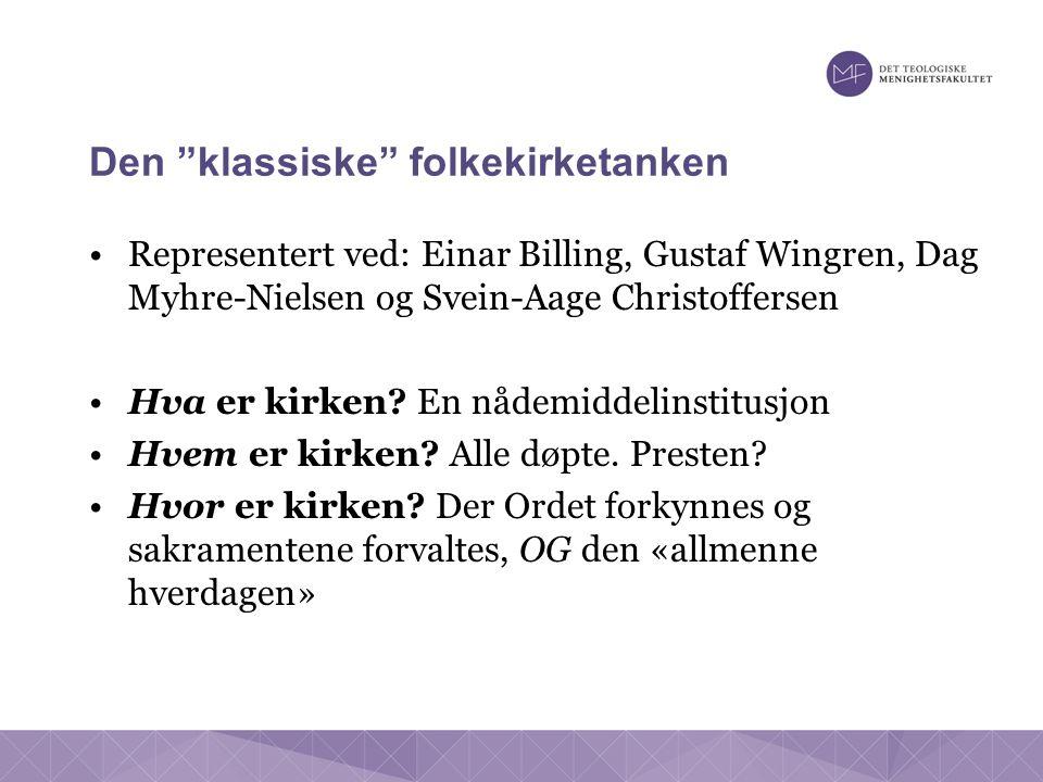 Den klassiske folkekirketanken Representert ved: Einar Billing, Gustaf Wingren, Dag Myhre-Nielsen og Svein-Aage Christoffersen Hva er kirken.
