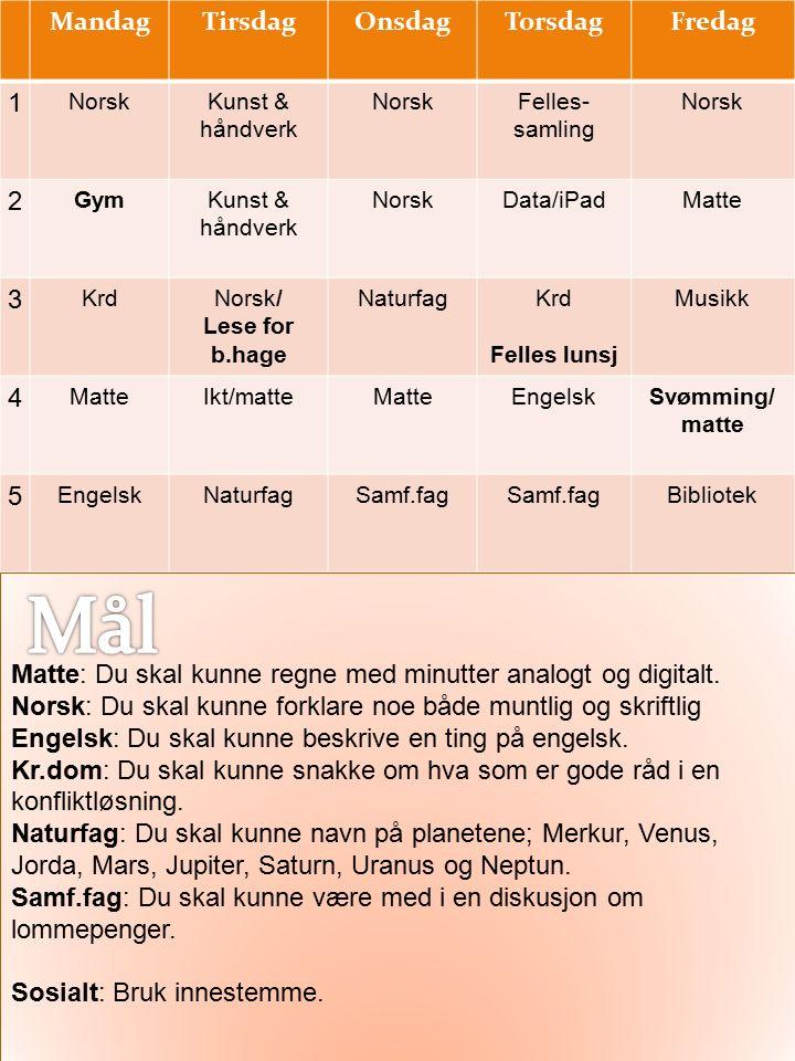 MandagTirsdagOnsdagTorsdagFredag 1 NorskKunst & håndverk NorskFelles- samling Norsk 2 GymKunst & håndverk NorskData/iPadMatte 3 KrdNorsk/ Lese for b.h