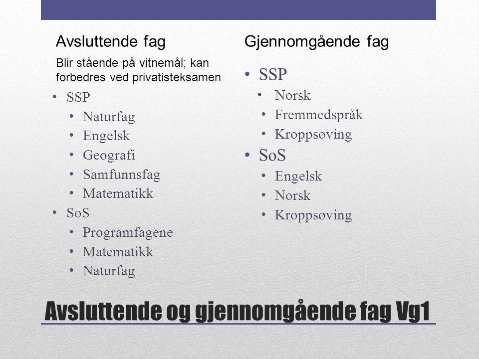 Avsluttende og gjennomgående fag Vg1 SSP Naturfag Engelsk Geografi Samfunnsfag Matematikk SoS Programfagene Matematikk Naturfag SSP Norsk Fremmedspråk