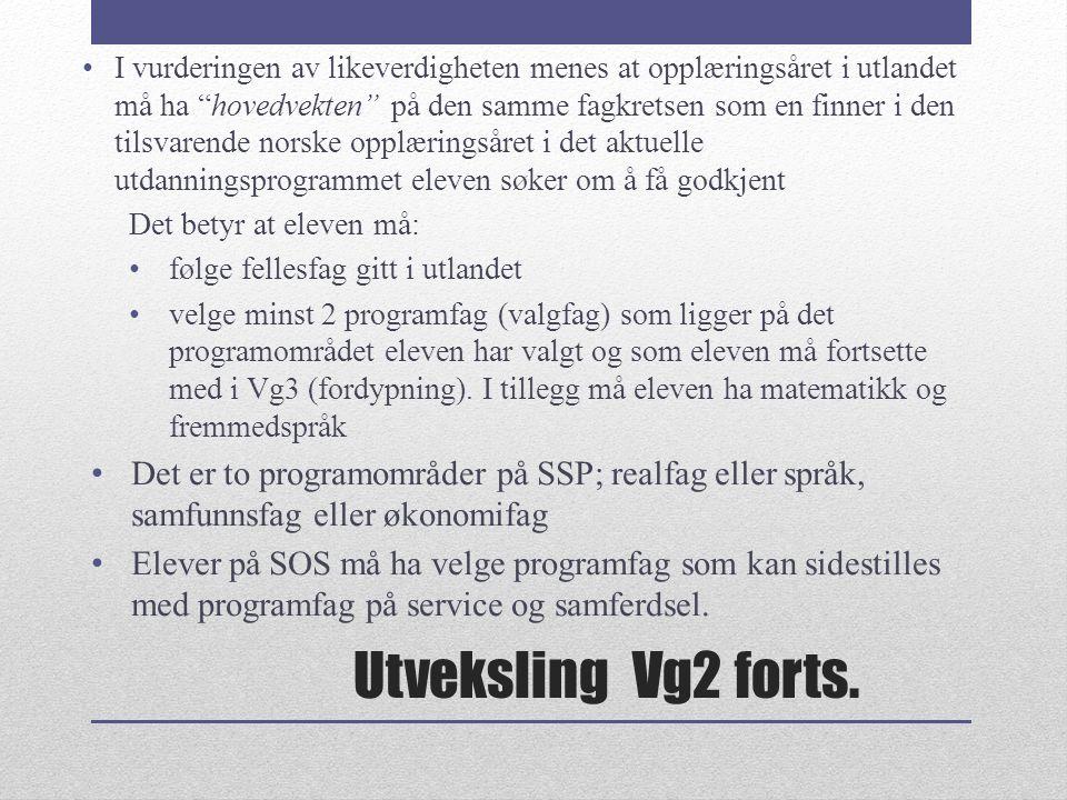 Utveksling Vg2 forts.