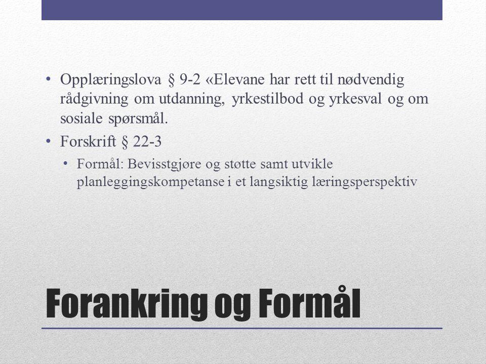 Forankring og Formål Opplæringslova § 9-2 «Elevane har rett til nødvendig rådgivning om utdanning, yrkestilbod og yrkesval og om sosiale spørsmål.