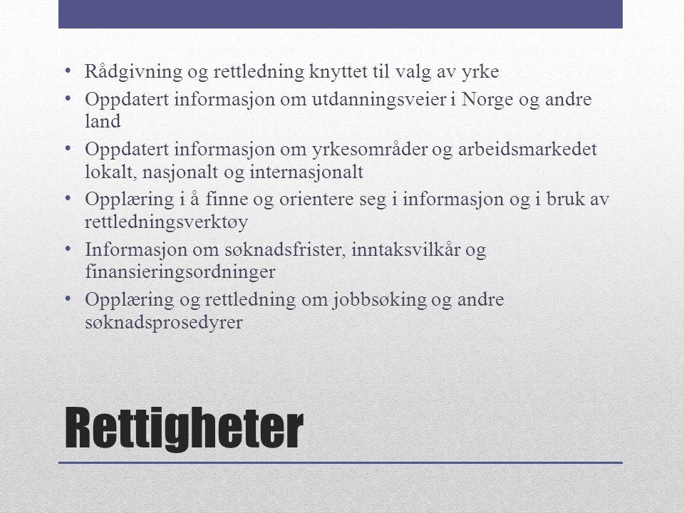 Rettigheter Rådgivning og rettledning knyttet til valg av yrke Oppdatert informasjon om utdanningsveier i Norge og andre land Oppdatert informasjon om yrkesområder og arbeidsmarkedet lokalt, nasjonalt og internasjonalt Opplæring i å finne og orientere seg i informasjon og i bruk av rettledningsverktøy Informasjon om søknadsfrister, inntaksvilkår og finansieringsordninger Opplæring og rettledning om jobbsøking og andre søknadsprosedyrer