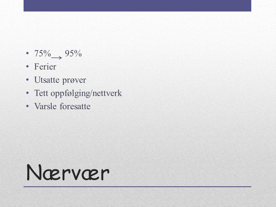 Nærvær 75% 95% Ferier Utsatte prøver Tett oppfølging/nettverk Varsle foresatte