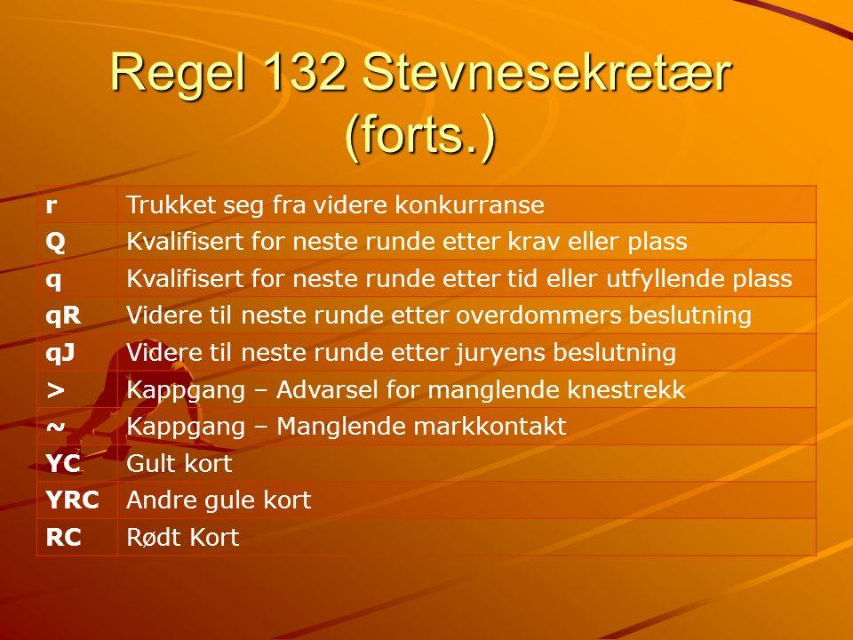 Regel 132 Stevnesekretær (forts.) rTrukket seg fra videre konkurranse QKvalifisert for neste runde etter krav eller plass qKvalifisert for neste runde