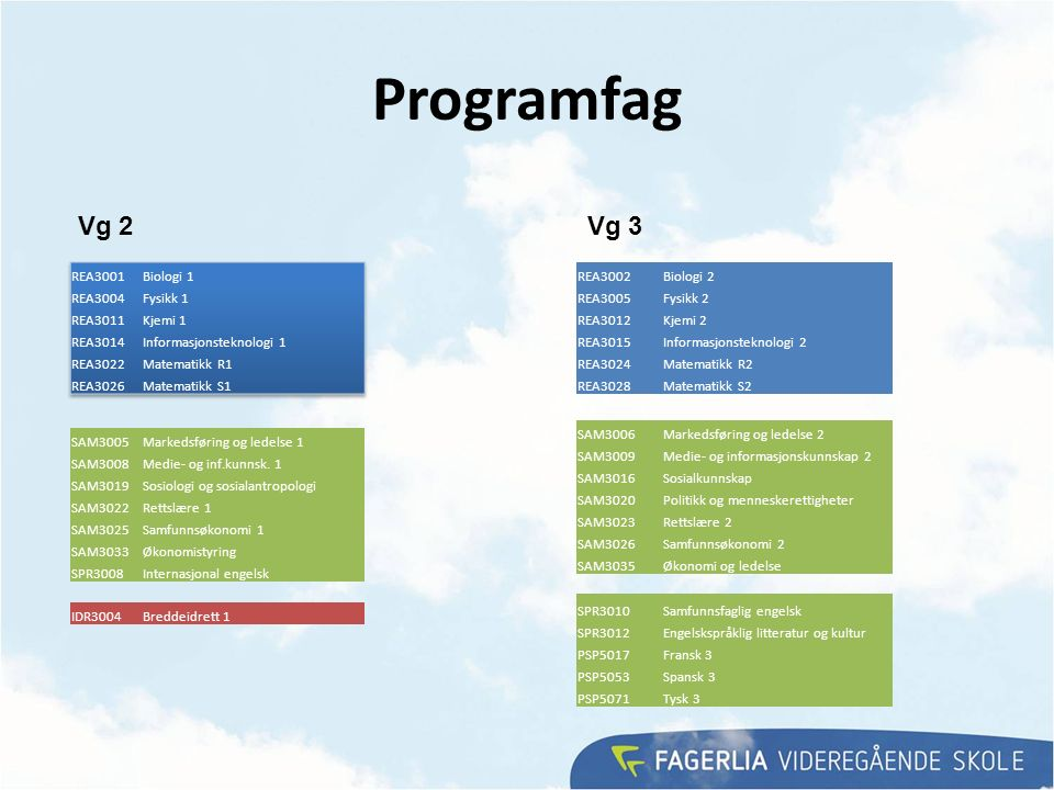 Programfag SAM3005Markedsføring og ledelse 1 SAM3008Medie- og inf.kunnsk.