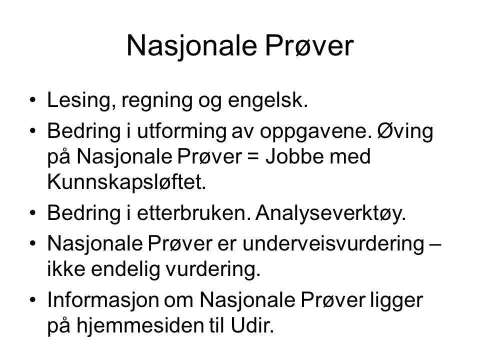 Nasjonale Prøver Lesing, regning og engelsk. Bedring i utforming av oppgavene.