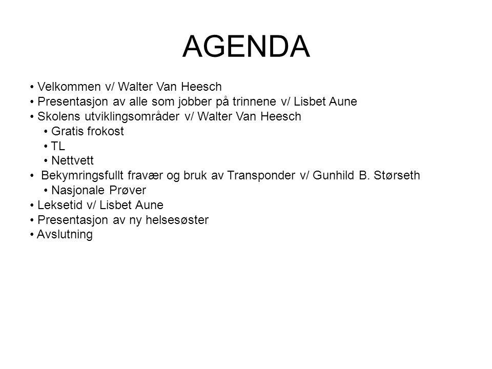 AGENDA Velkommen v/ Walter Van Heesch Presentasjon av alle som jobber på trinnene v/ Lisbet Aune Skolens utviklingsområder v/ Walter Van Heesch Gratis frokost TL Nettvett Bekymringsfullt fravær og bruk av Transponder v/ Gunhild B.
