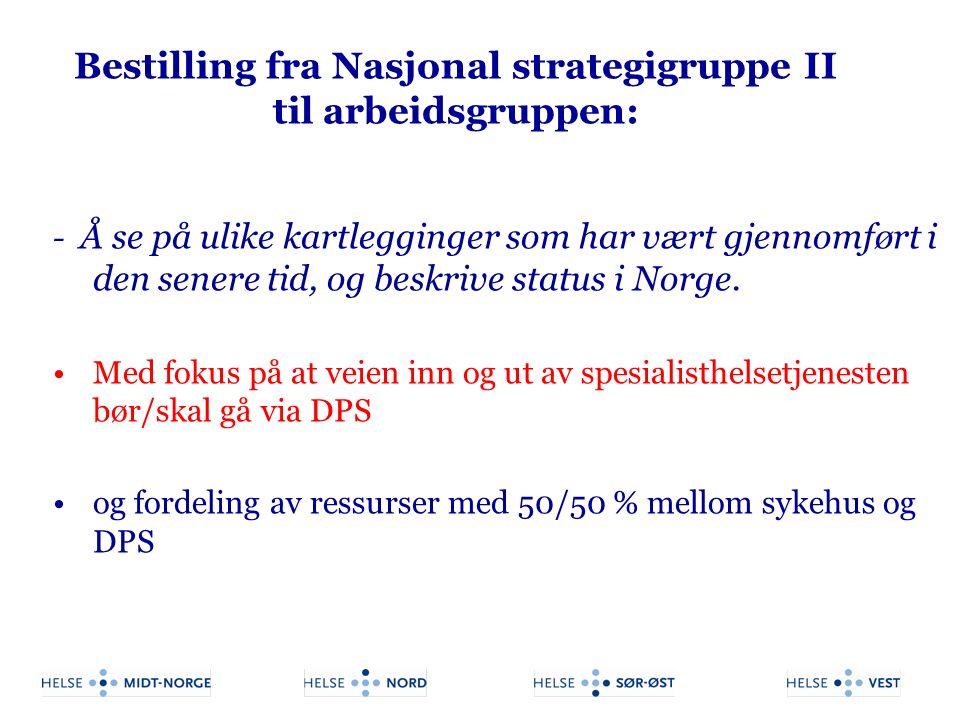 Bestilling fra Nasjonal strategigruppe II til arbeidsgruppen: - Å se på ulike kartlegginger som har vært gjennomført i den senere tid, og beskrive sta