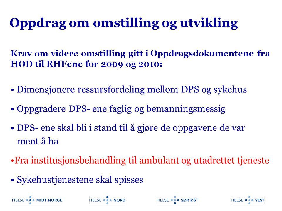 Oppdrag om omstilling og utvikling Krav om videre omstilling gitt i Oppdragsdokumentene fra HOD til RHFene for 2009 og 2010: Dimensjonere ressursforde