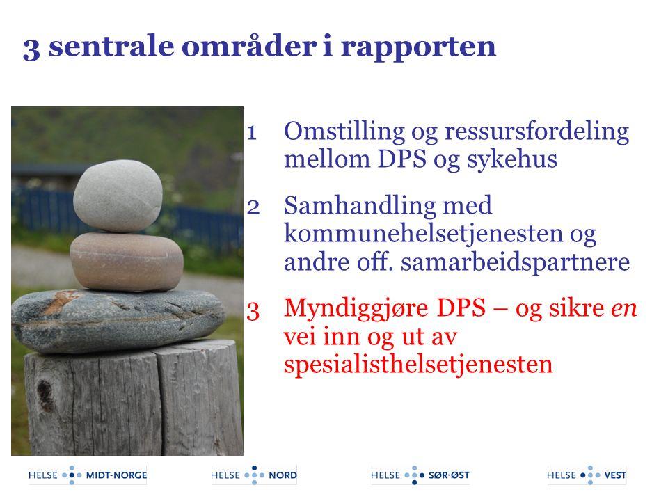 3 sentrale områder i rapporten 1Omstilling og ressursfordeling mellom DPS og sykehus 2Samhandling med kommunehelsetjenesten og andre off. samarbeidspa