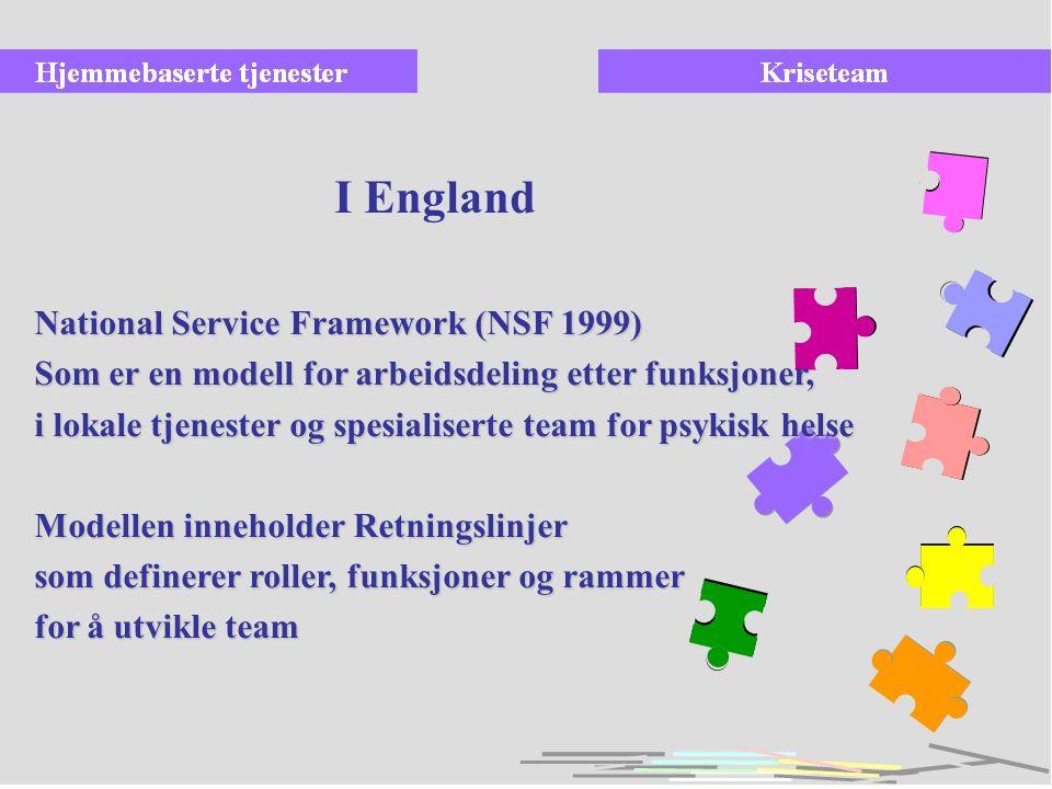 increase National Service Framework (NSF 1999) Som er en modell for arbeidsdeling etter funksjoner, i lokale tjenester og spesialiserte team for psyki