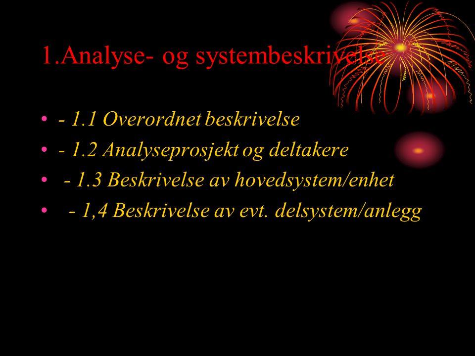 1.Analyse- og systembeskrivelse - 1.1 Overordnet beskrivelse - 1.2 Analyseprosjekt og deltakere - 1.3 Beskrivelse av hovedsystem/enhet - 1,4 Beskrivelse av evt.