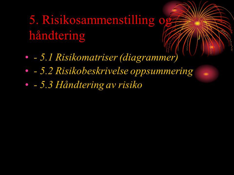5. Risikosammenstilling og håndtering - 5.1 Risikomatriser (diagrammer) - 5.2 Risikobeskrivelse oppsummering - 5.3 Håndtering av risiko
