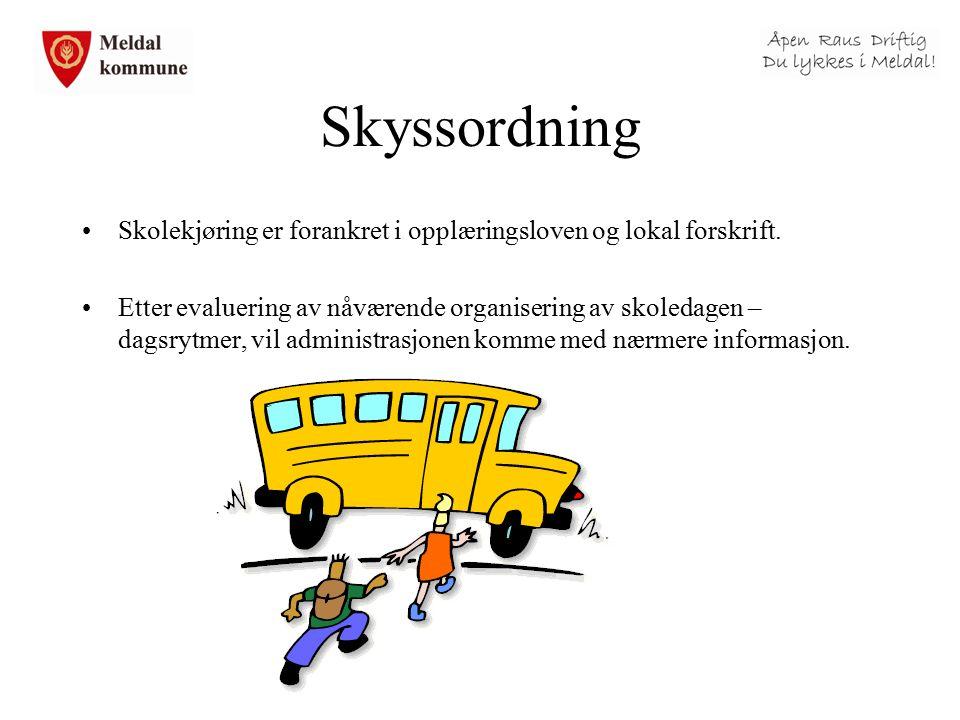 Skyssordning Skolekjøring er forankret i opplæringsloven og lokal forskrift. Etter evaluering av nåværende organisering av skoledagen – dagsrytmer, vi
