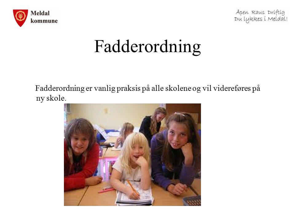 Fadderordning Fadderordning er vanlig praksis på alle skolene og vil videreføres på ny skole.