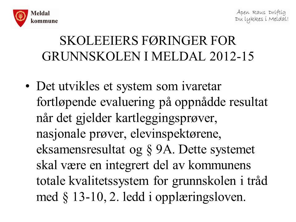 SKOLEEIERS FØRINGER FOR GRUNNSKOLEN I MELDAL 2012-15 Det utvikles et system som ivaretar fortløpende evaluering på oppnådde resultat når det gjelder k