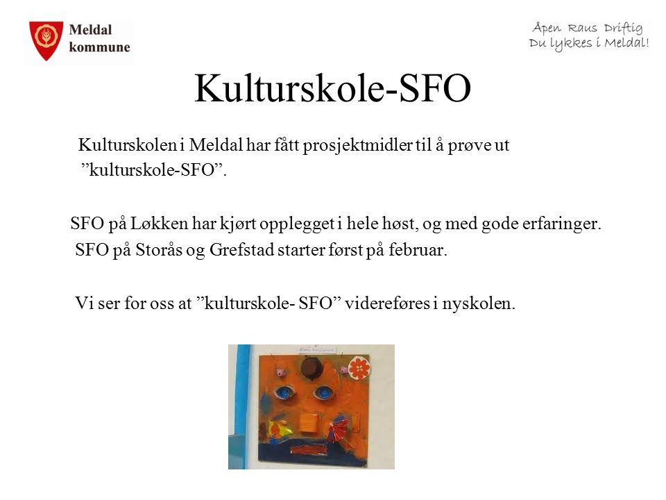 """Kulturskole-SFO Kulturskolen i Meldal har fått prosjektmidler til å prøve ut """"kulturskole-SFO"""". SFO på Løkken har kjørt opplegget i hele høst, og med"""
