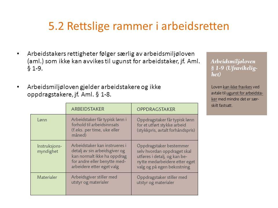 Arbeidstakers rettigheter følger særlig av arbeidsmiljøloven (aml.) som ikke kan avvikes til ugunst for arbeidstaker, jf.