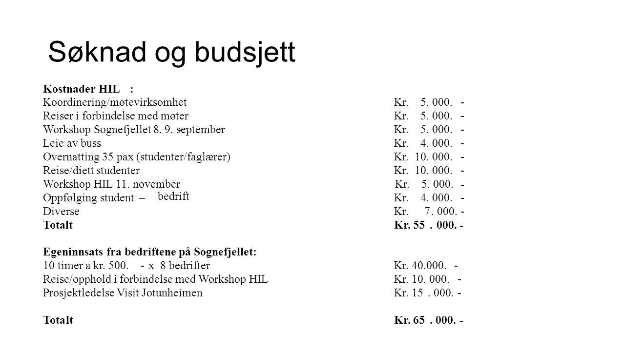 Arbeidet så langt 1. Informasjon fra bedriftene til studentene 2. Workshop – Jotunheimen Fjellstue