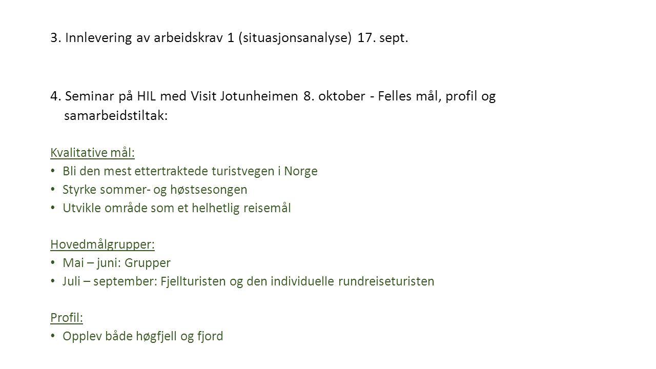 3. Innlevering av arbeidskrav 1 (situasjonsanalyse) 17. sept. 4. Seminar på HIL med Visit Jotunheimen 8. oktober - Felles mål, profil og samarbeidstil