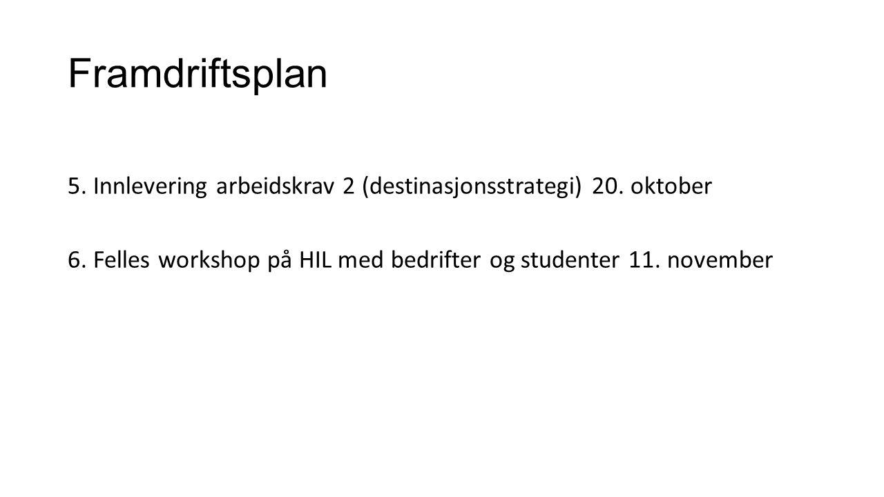 Framdriftsplan 5. Innlevering arbeidskrav 2 (destinasjonsstrategi) 20. oktober 6. Felles workshop på HIL med bedrifter og studenter 11. november