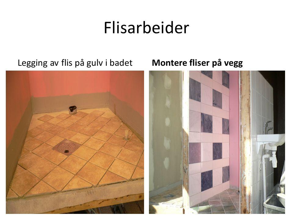 Flisarbeider Legging av flis på gulv i badetMontere fliser på vegg