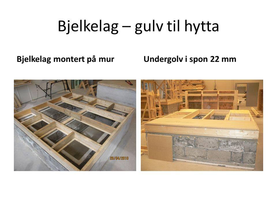 Bjelkelag – gulv til hytta Bjelkelag montert på murUndergolv i spon 22 mm