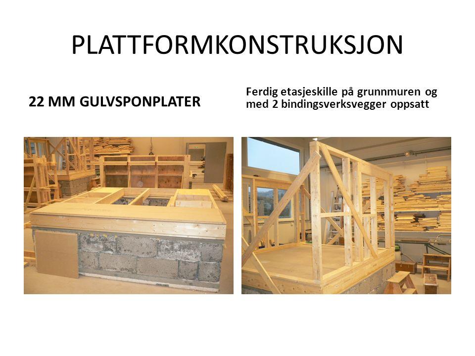 PLATTFORMKONSTRUKSJON 22 MM GULVSPONPLATER Ferdig etasjeskille på grunnmuren og med 2 bindingsverksvegger oppsatt