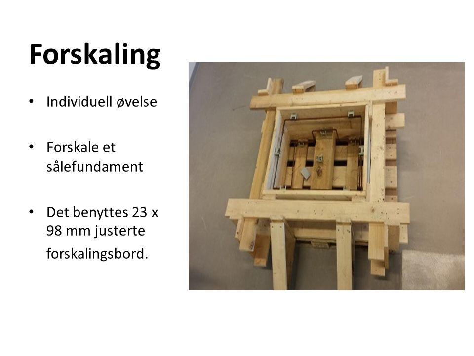 Forskaling Individuell øvelse Forskale et sålefundament Det benyttes 23 x 98 mm justerte forskalingsbord.