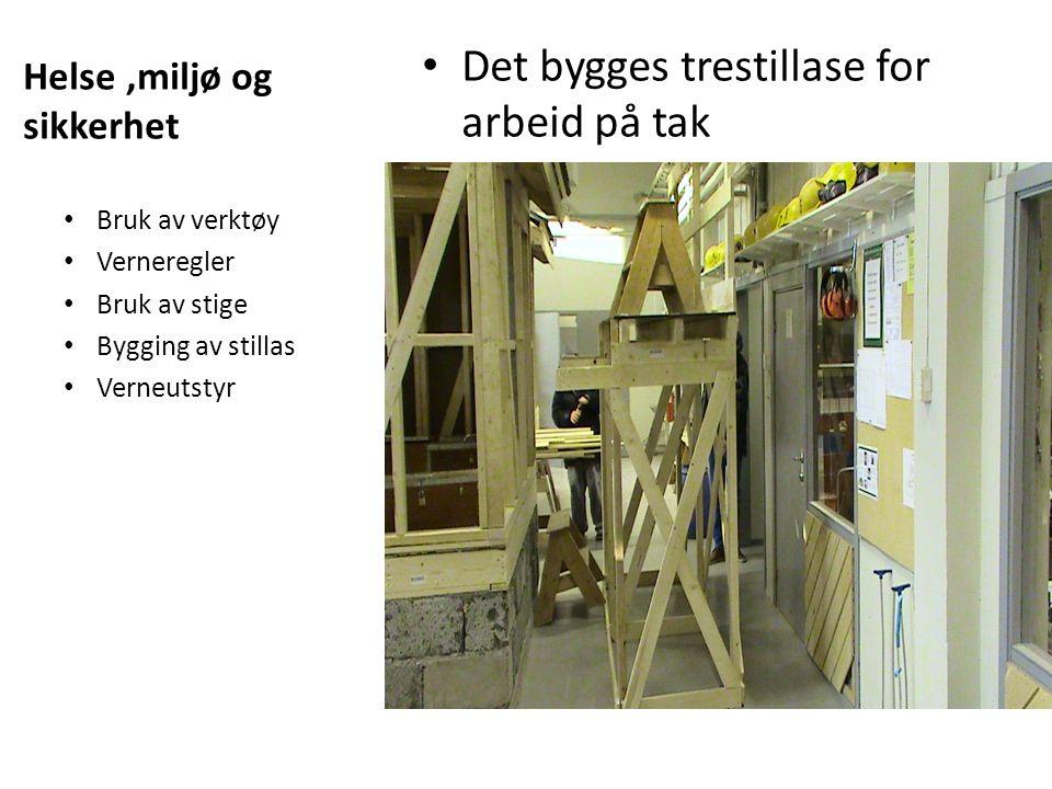 Helse,miljø og sikkerhet Det bygges trestillase for arbeid på tak Bruk av verktøy Verneregler Bruk av stige Bygging av stillas Verneutstyr