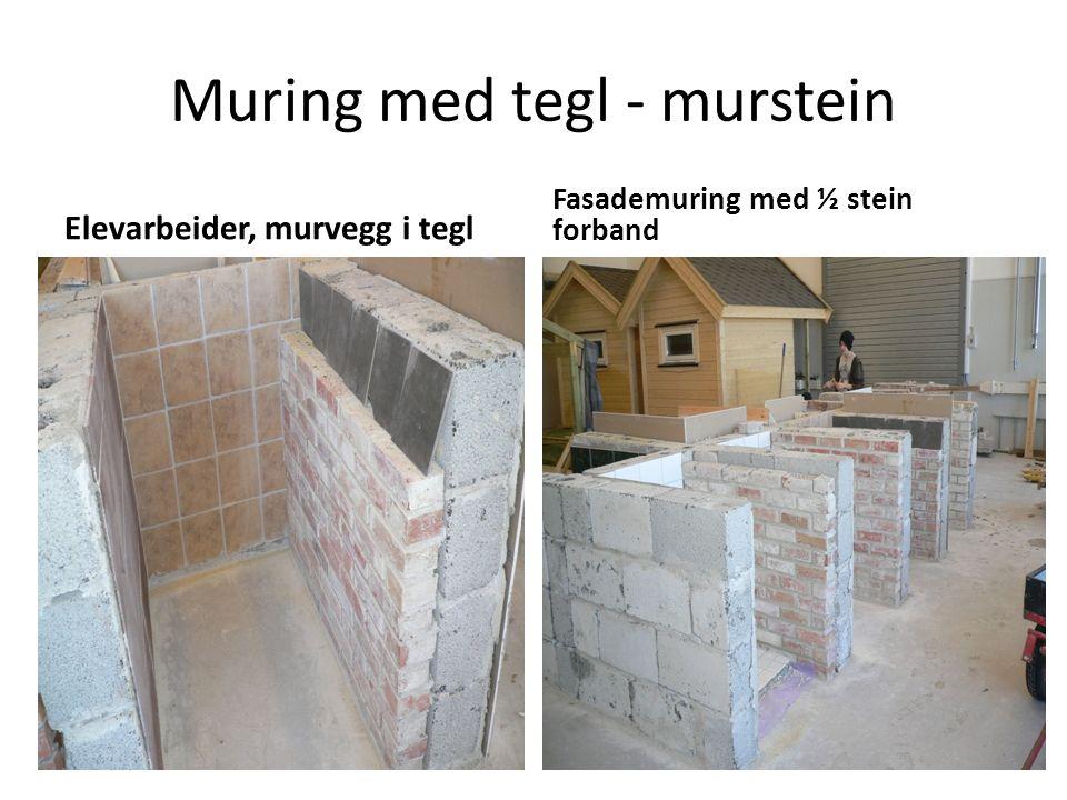 Muring med tegl - murstein Elevarbeider, murvegg i tegl Fasademuring med ½ stein forband