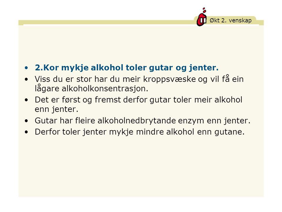 Økt 2.venskap 2.Kor mykje alkohol toler gutar og jenter.