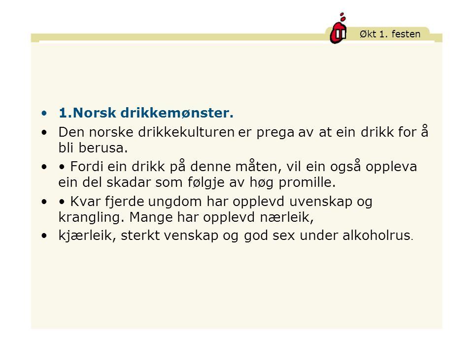 Økt 1.festen 1.Norsk drikkemønster.