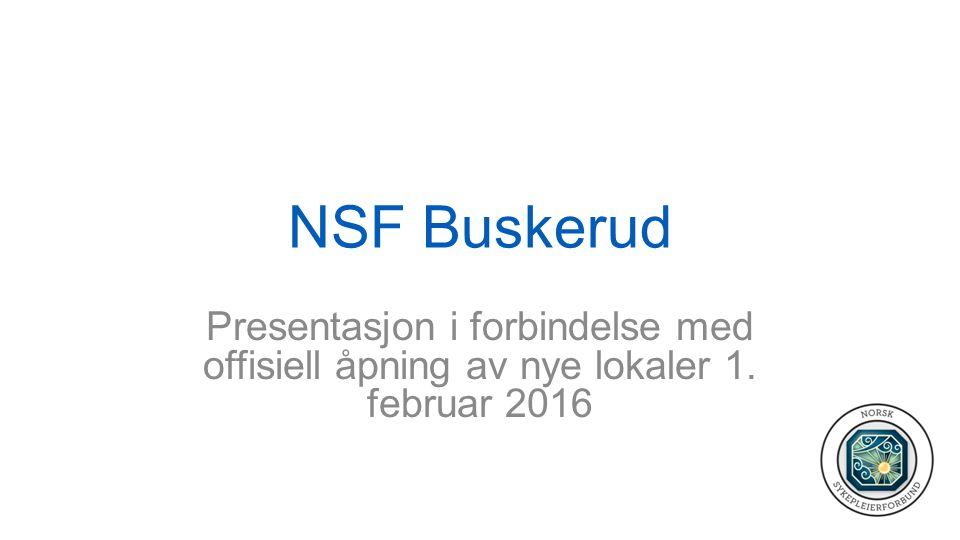 NSF Buskerud Presentasjon i forbindelse med offisiell åpning av nye lokaler 1. februar 2016
