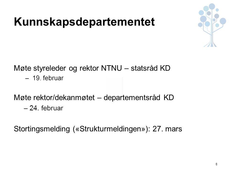 8 Kunnskapsdepartementet Møte styreleder og rektor NTNU – statsråd KD –19.