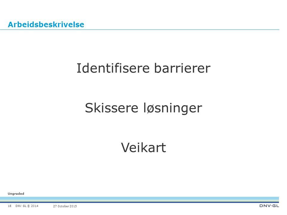 DNV GL © 2014 Ungraded 27 October 2015 Arbeidsbeskrivelse Identifisere barrierer Skissere løsninger Veikart 18