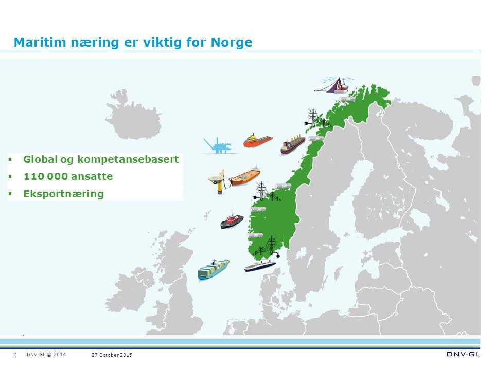 DNV GL © 2014 Ungraded 27 October 2015 Maritim næring er viktig for Norge 2  Global og kompetansebasert  110 000 ansatte  Eksportnæring