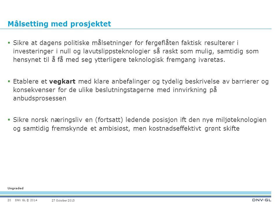 DNV GL © 2014 Ungraded 27 October 2015 Målsetting med prosjektet  Sikre at dagens politiske målsetninger for fergeflåten faktisk resulterer i investe