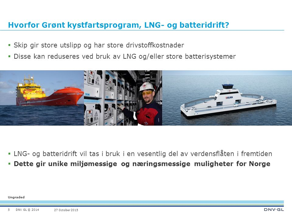 DNV GL © 2014 Ungraded 27 October 2015 Grønt kystfartsprogram 6 Norge skal etablere verdens mest effektive og miljøvennlige kystfart drevet helt eller delvis med batterier, LNG eller andre miljøvennlige drivstoff