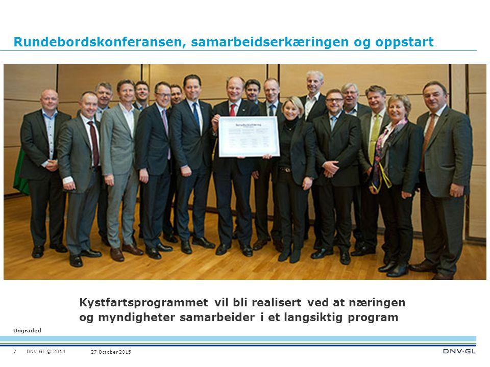DNV GL © 2014 Ungraded 27 October 2015 Rundebordskonferansen, samarbeidserkæringen og oppstart 7 Kystfartsprogrammet vil bli realisert ved at næringen
