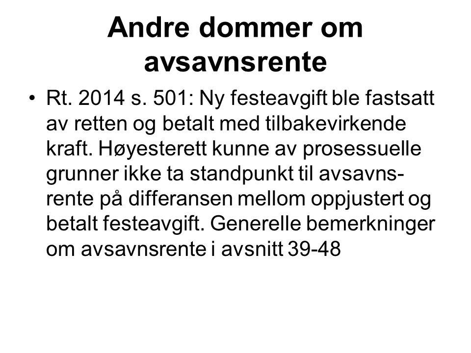 Andre dommer om avsavnsrente Rt. 2014 s.