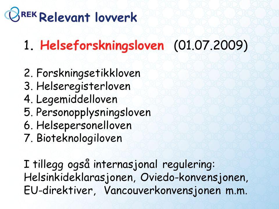 Relevant lovverk 2. Forskningsetikkloven 3. Helseregisterloven 4.