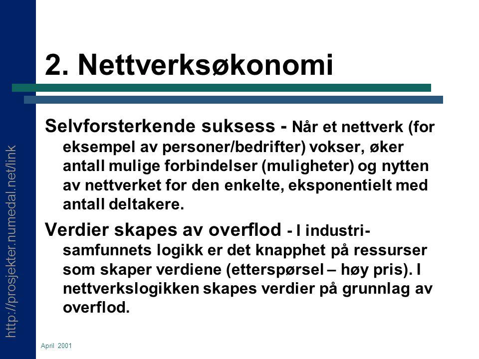 http://prosjekter.numedal.net/link April 2001 2. Nettverksøkonomi Selvforsterkende suksess - Når et nettverk (for eksempel av personer/bedrifter) voks