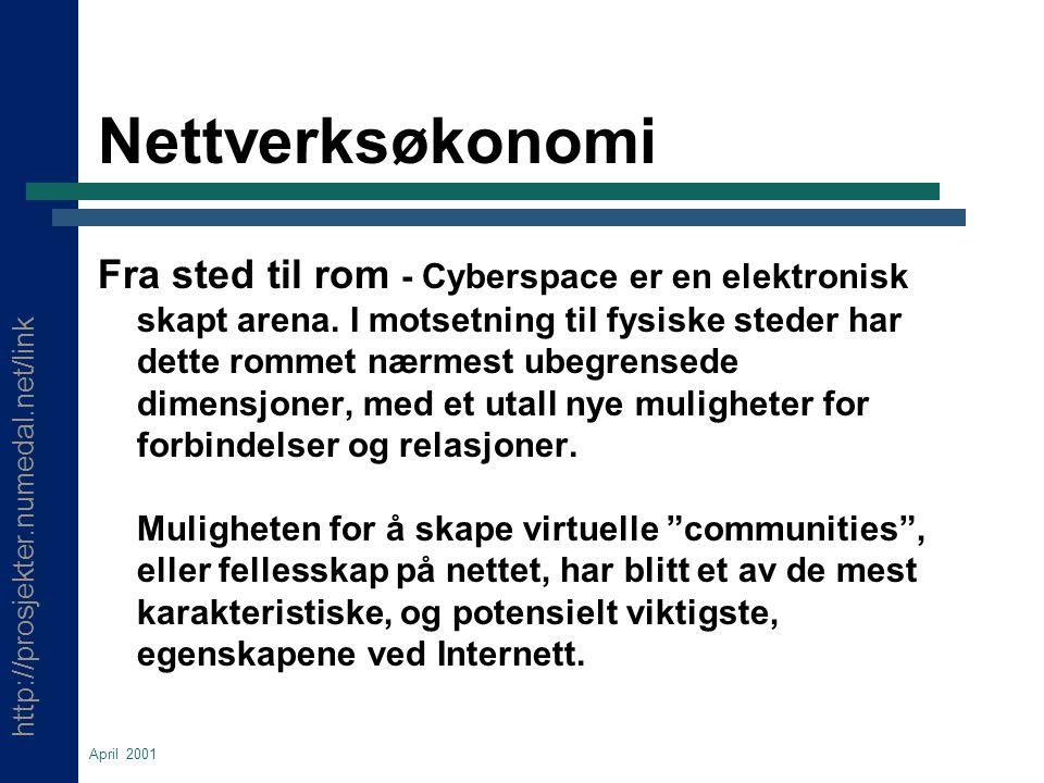 http://prosjekter.numedal.net/link April 2001 Nettverksøkonomi Fra sted til rom - Cyberspace er en elektronisk skapt arena.