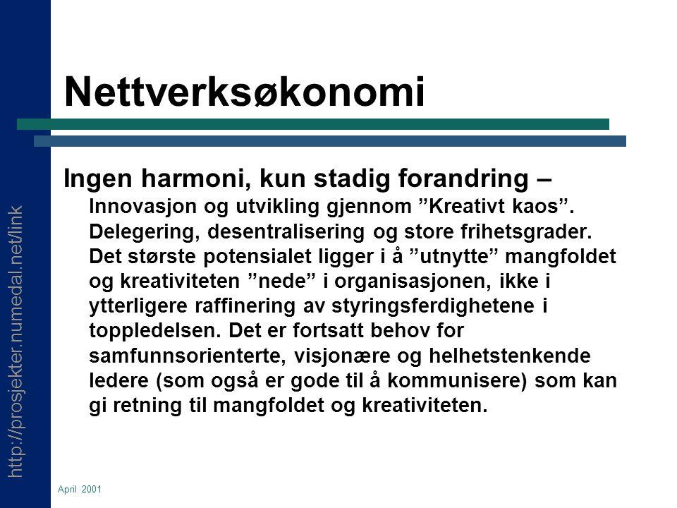http://prosjekter.numedal.net/link April 2001 Nettverksøkonomi Ingen harmoni, kun stadig forandring – Innovasjon og utvikling gjennom Kreativt kaos .